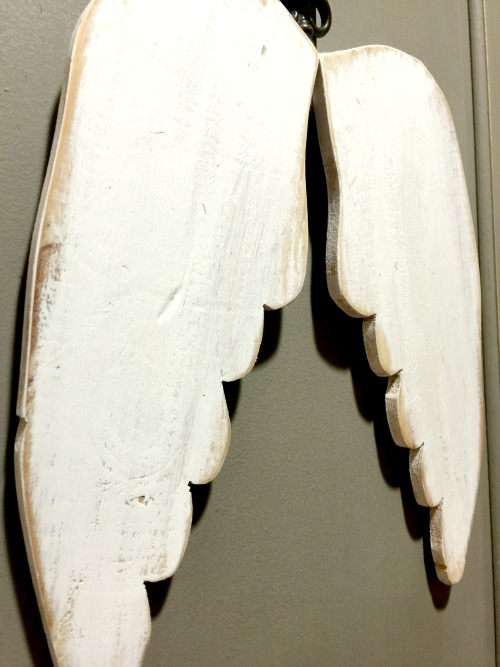 White washed wooden angel wings