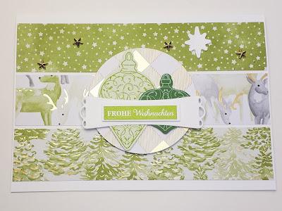 """Weihnachtskarte """"Zur Weihnachtszeit"""" in Grüntönen und Goldschimmer Stampin' Up! www.eris-kreativwerkstatt.blogspot.de"""