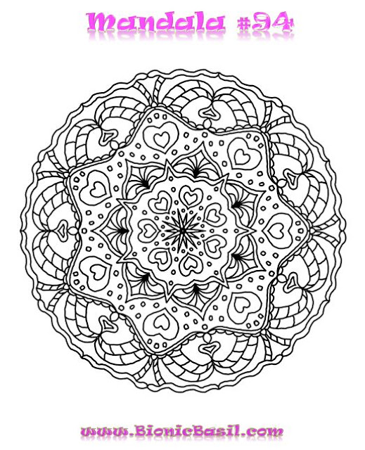 Mandalas on Monday ©BionicBasil® Colouring With Cats #94  Downloadable Image