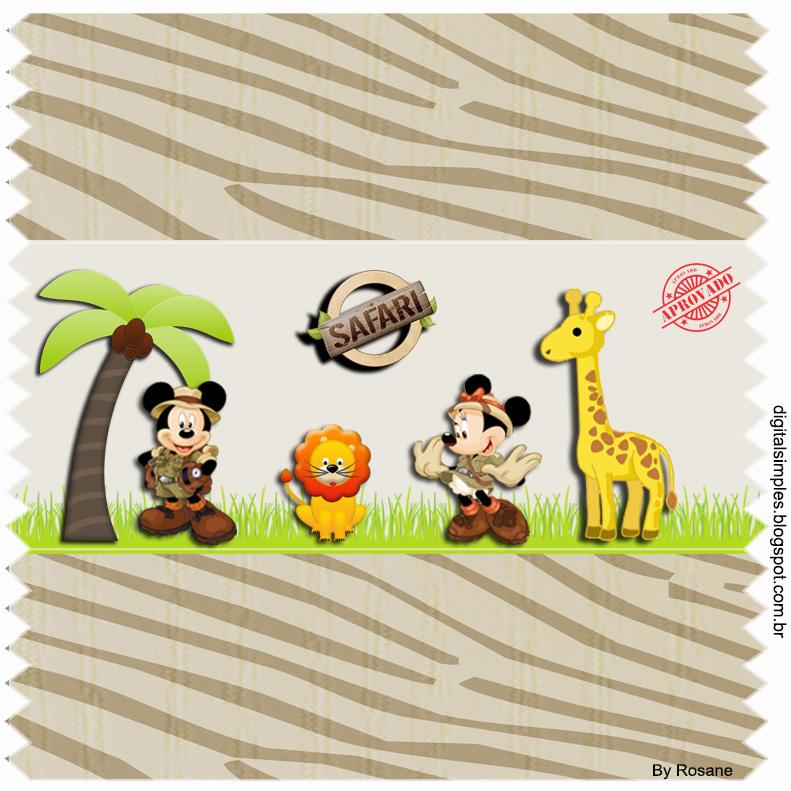 Kit Personalizados Tema Safari Do Mickey E Da Minnie Para