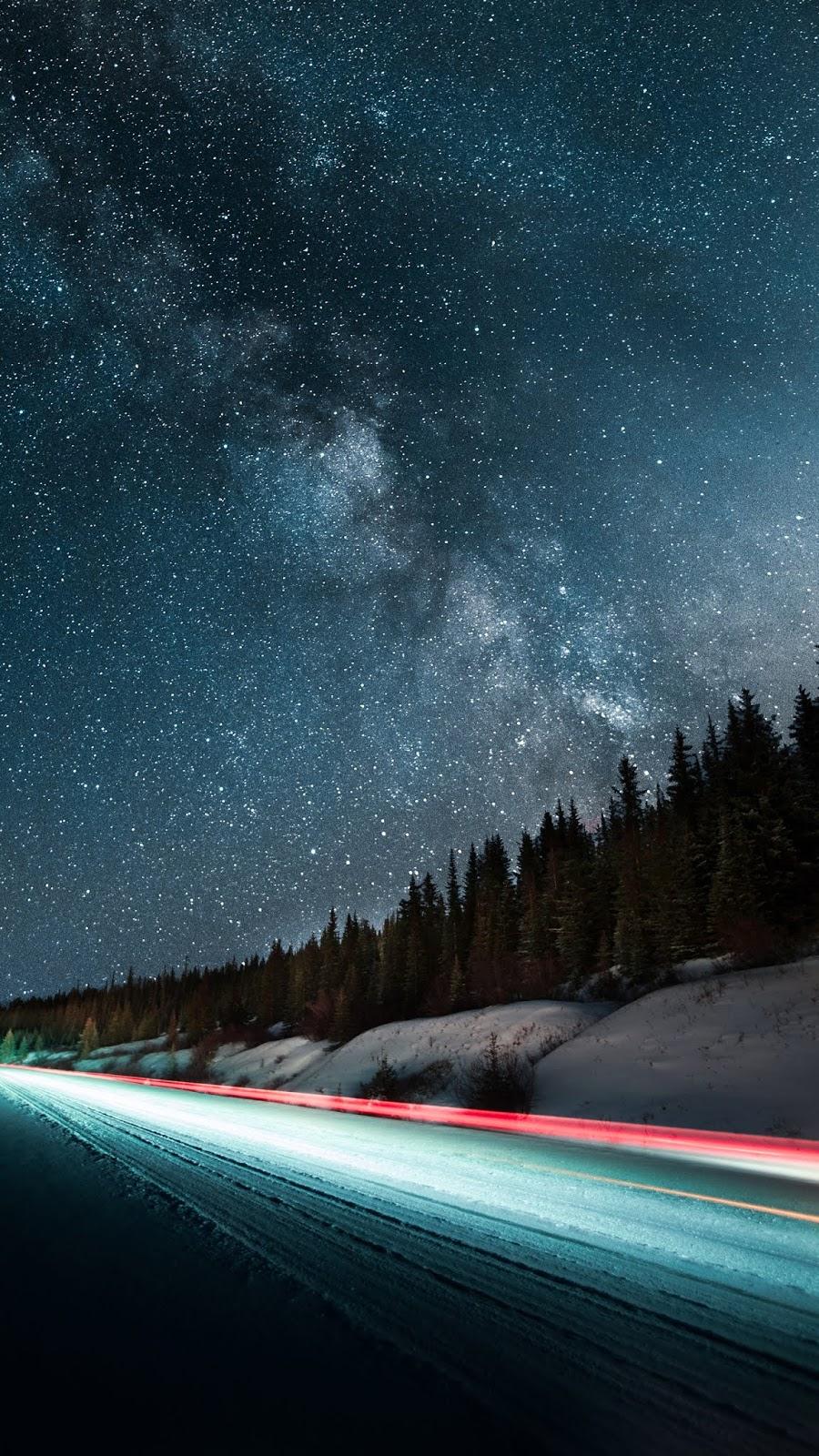 Road under night sky