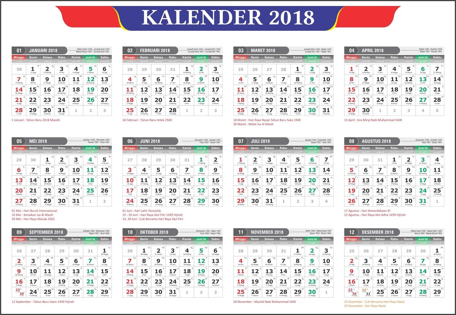 Kalender 2019 Masehi / 1440 Hijriyah Indonesia Lengkap ...