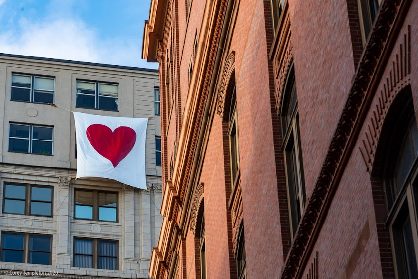 Portland, Maine USA February 2020 photo by Corey Templeton. A heart up near the top of the Time & Temperature Building.