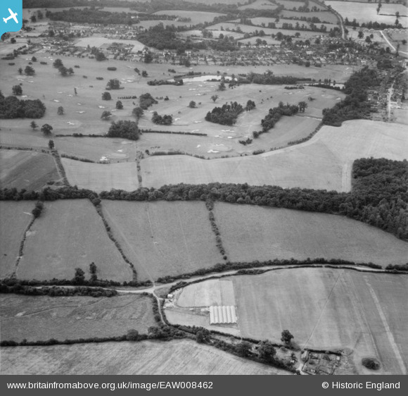 Photograph of Bulls Lane and Brookmans Park Golf Course, Brookmans Park, 1947 Image courtesy of Britain From Above