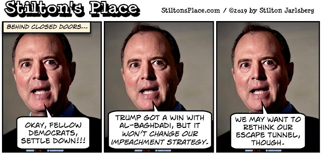 stilton's place, stilton, political, humor, conservative, cartoons, jokes, hope n' change, al-baghdadi, tunnel, schiff