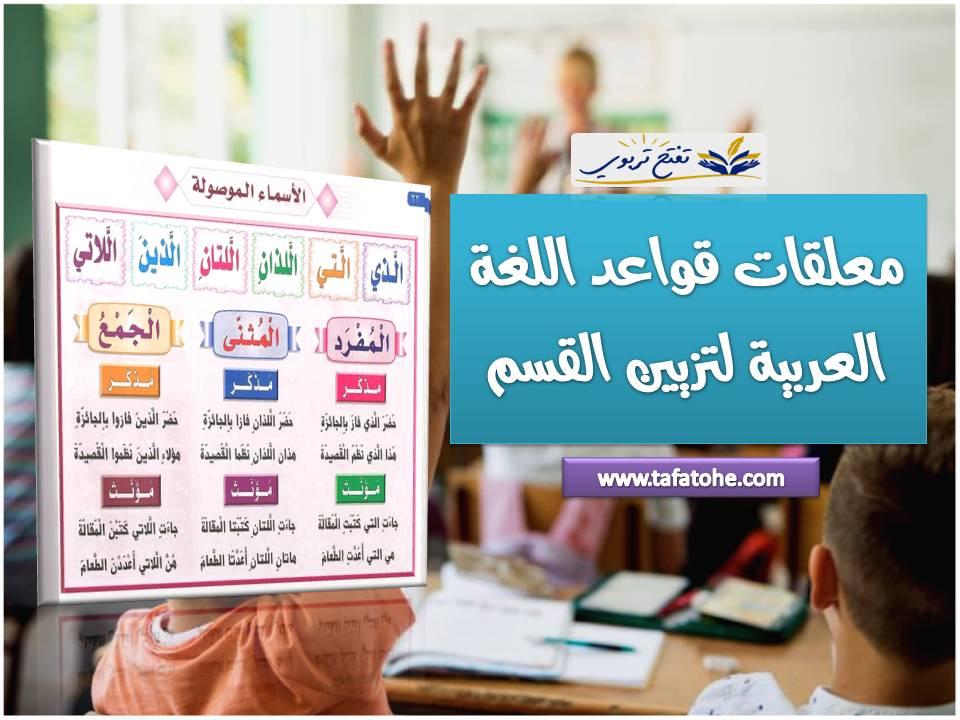 معلقات قواعد اللغة العربية لتزيين القسم