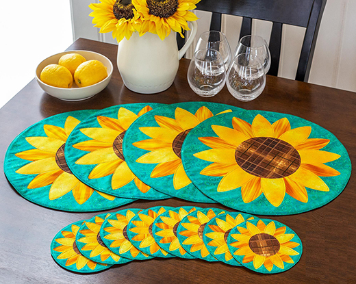 Sunflower Placemats and Coasters Table Glitz Free Tutorial designed by Jennifer Bosworth of Shabby Fabrics.