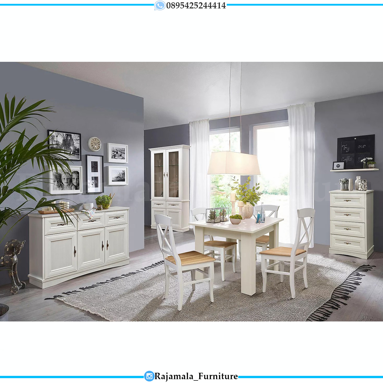 Set Meja Makan Minimalis Putih Simple Design Solid Wood RM-0274