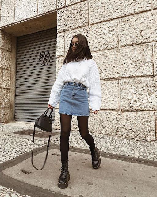falda con sueter  outfits