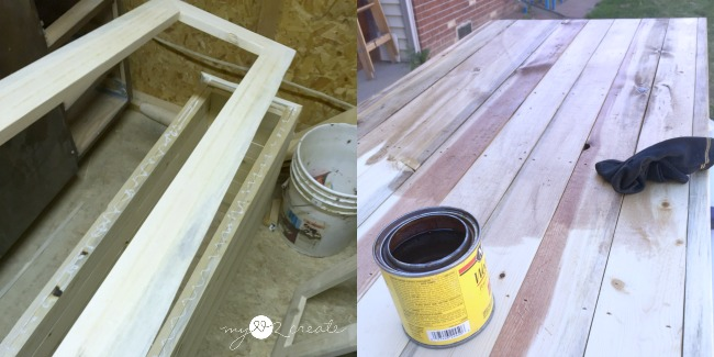 attaching face frames and staining table