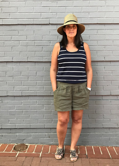 Shorts made from the Simplicity 1887 sewing pattern.