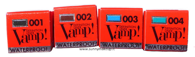 Pupa - Vamp! Definition Liner Waterproof. 001 Glossy Black 002 Pearly Brown 003 Pearly Blue 004 Pearly Peacock