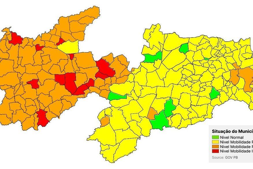 Avaliação aponta aumento na taxa de transmissão da Covid-19 na Paraíba e 97% dos municípios estão com bandeira amarela ou laranja