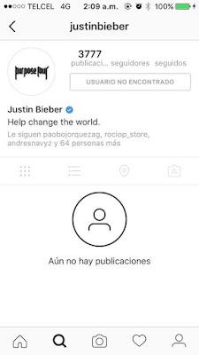 Justin Bieber bloquea su Instagram.