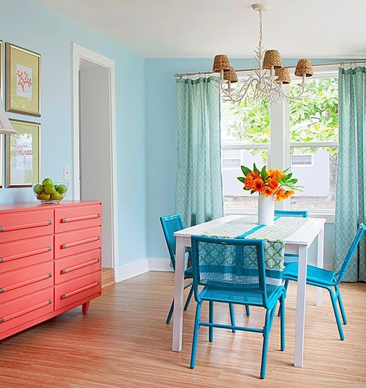 Pale Blue Light Painted Dining Room with Coral Coastal Beach Color Combination