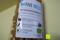 Verpackung vorne: Kichererbsennudeln BIO (1x250g) aus 100% Kichererbsenmehl 250g mit 21% veganem Protein von Five-Mills.de für Muskelwachstum und Muskelerhalt - Eiweißnudeln geeignet als Fleischersatz und Supplementersatz