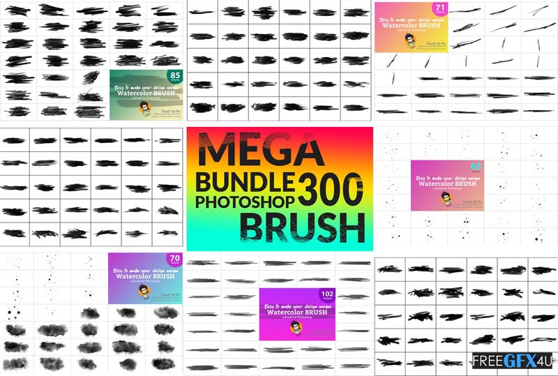300 Watercolor Brush Bundle Photoshop designs