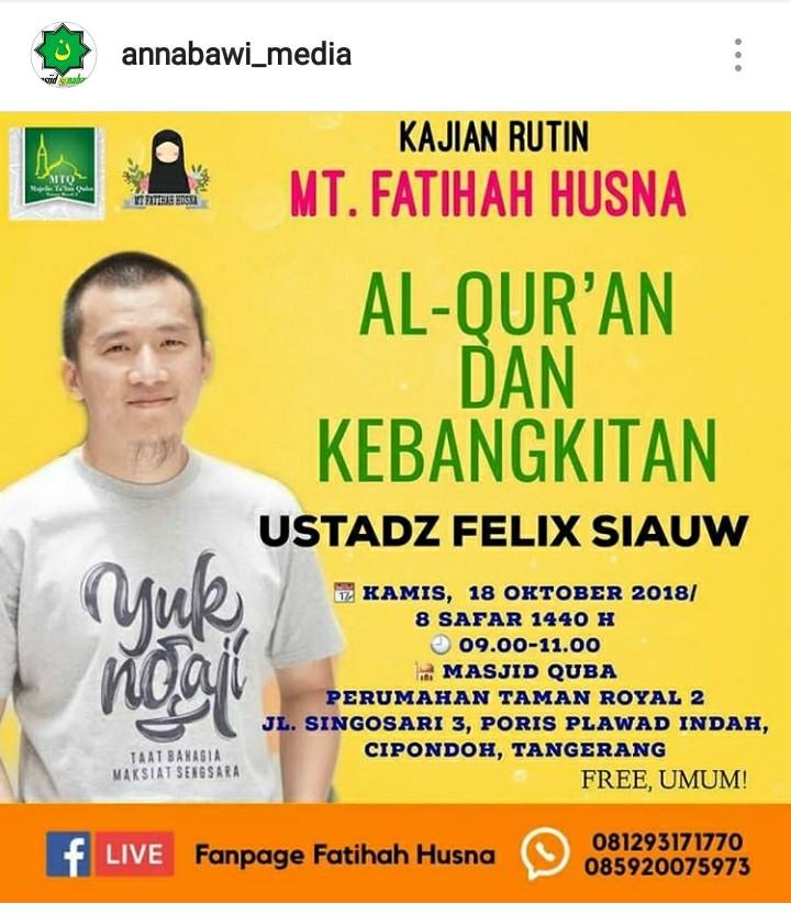 Kajian Ustadz Felix Siauw Dipindahkan Tanpa Alasan yang Jelas