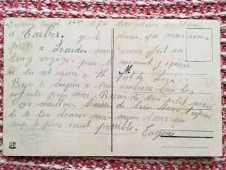 carte postale de Lourdes adressée par Eugène à son épouse Marguerite en 1940