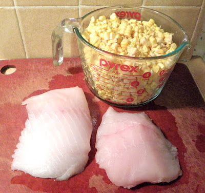 Two Halibut Fillets and 4 cups of fresh corn