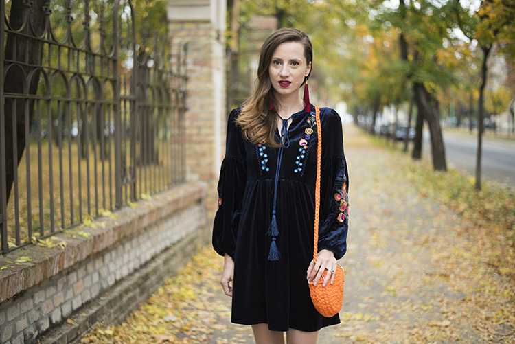 Boho Embroidered Velvet Dress in Navy Crochet Orange Bag