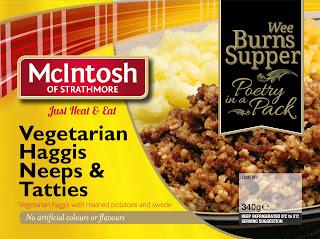 McIntosh vegetarian haggis, neeps and tatties