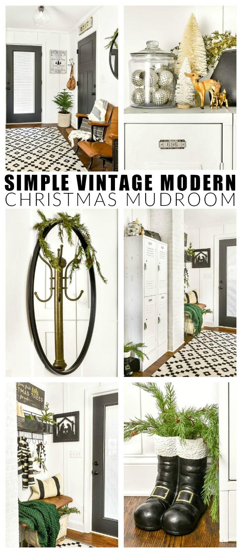 Simple Vintage Modern Christmas mudroom