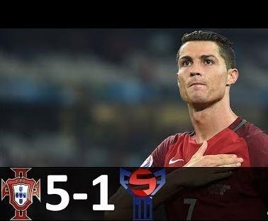 (VIDEO) Highlights and Goals Portugal 5 vs Faroe Islands 1 (Cristiano Ronaldo hat trick sinks Faroe Islands)