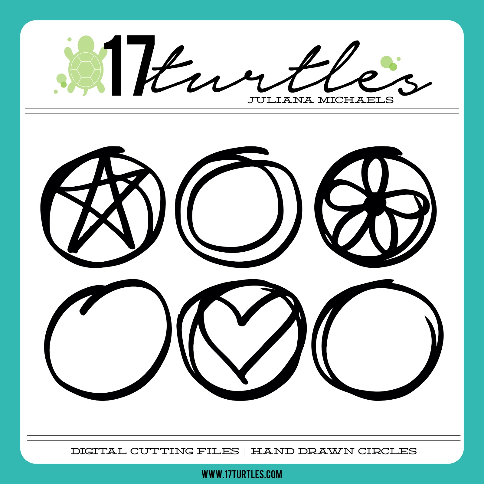 17turtles Digital Cut Files Hand Drawn Circles