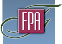 "The letters ""FPA"" inside a box superimposed upon a large cursive letter F"