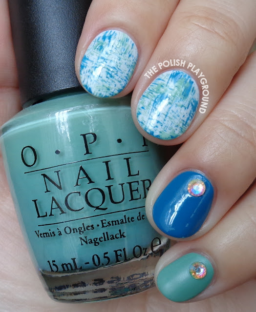 Blue and Green Brushstroke Nail Art with Rhinestones