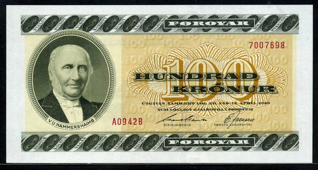 Foreign currency money Faeroe Islands Kronur banknotes 100 Kroner note