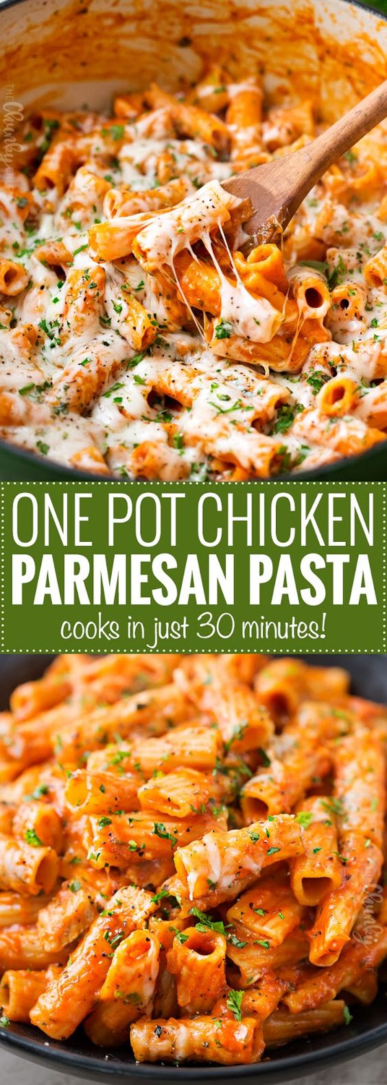All the great chicken parmesan flavors, combined in one easy one pot pasta dish that's ready in 30 minutes! Less dishes, but a meal with maximum flavor!