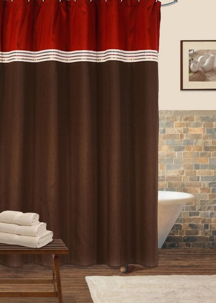 brown and tan shower curtain bed
