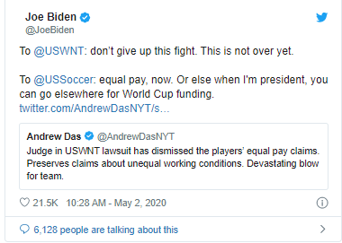 JO BIDDEN supports equal pay for us women's soccer team after court case