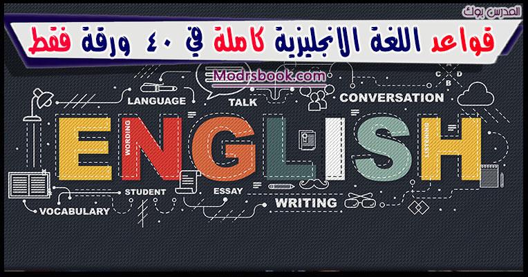 قواعد اللغة الانجليزية كاملة pdf في 40 ورقة منسقة وجاهزة للطباعة