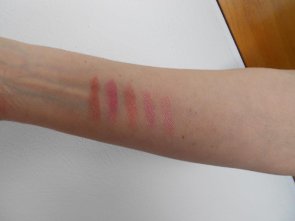 swatches of Burt's Bees five lipsticks.jpeg