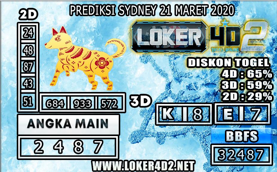 PREDIKSI TOGEL SYDNEY LOKER 4D2 21 MARET 2020