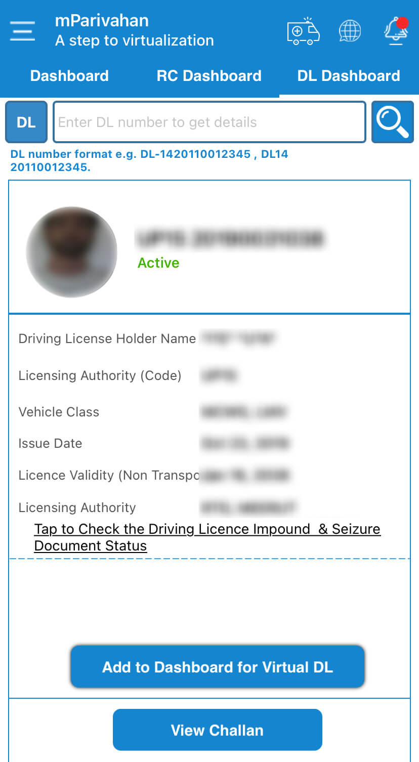 Add virtual driving license to dashboard in mParivahan