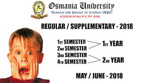 OU Degree Results May/June 2018 - Osmania University B.Sc, B.Com, BA, BBA 1st year, 2nd-year Regular Supplementary