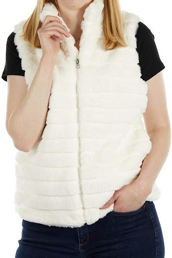 Warm Cream Faux Fur Vest For Women