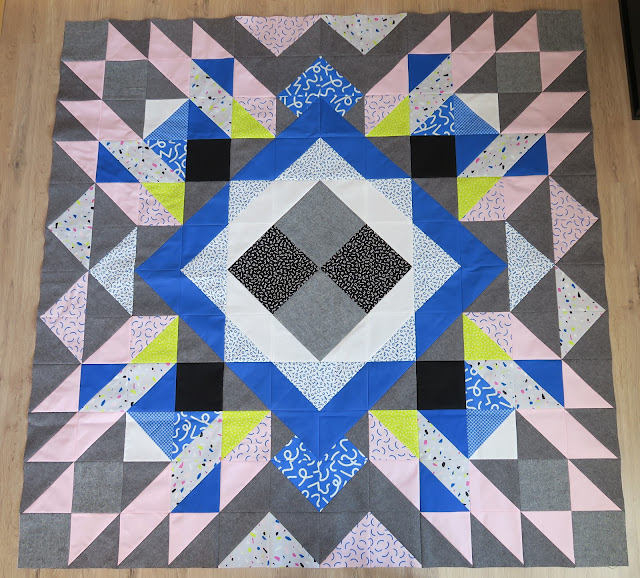 Luna Lovequilts - A finished quilt top - Diaspora pattern designed by psbquilts - Snap to Grid collection by Kimberly Kight