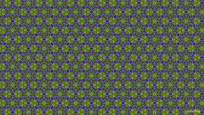 Patroon met paarse bloemen en groene blaadjes.