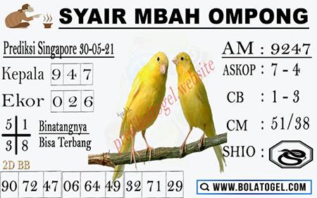 Syair Mbah Ompong SGP Minggu 30-05-2021