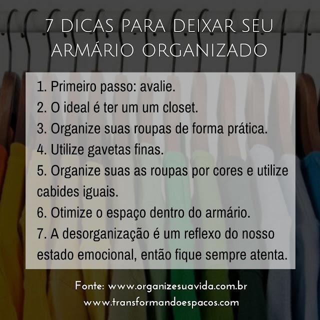 7 Dicas para deixar seu Armário Organizado