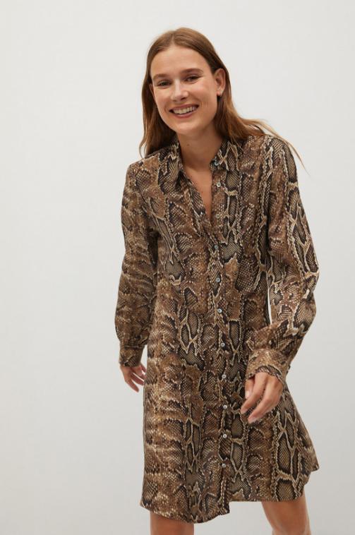 Mango - Rochie casual cu maneci lungi si imprimeu sarpe la moda