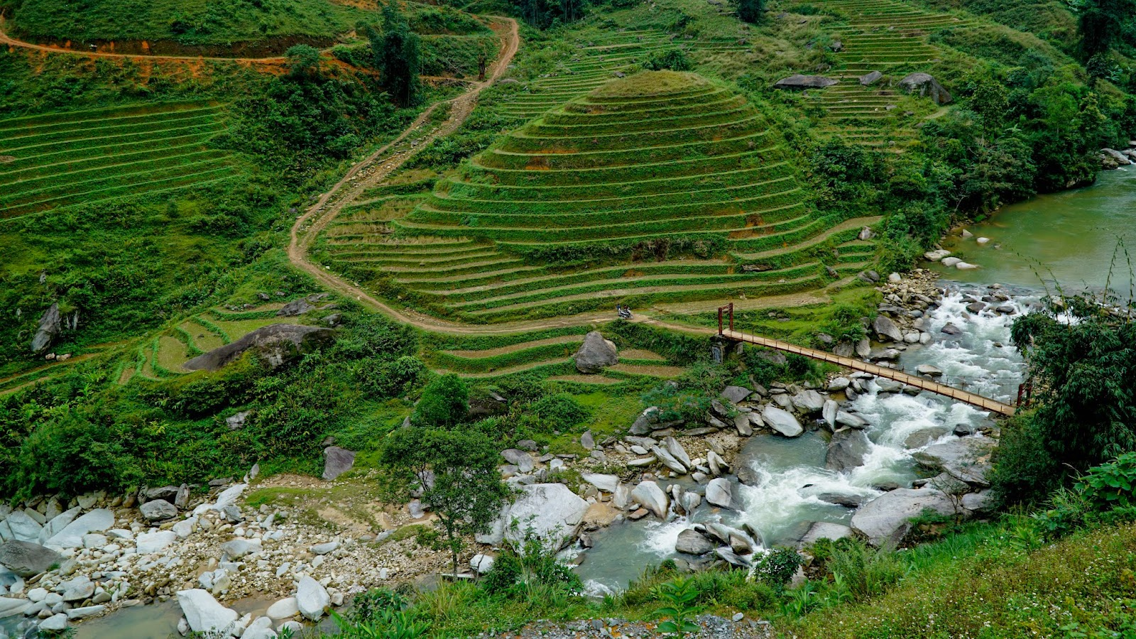View of rice terraces on the way to Trung Chai