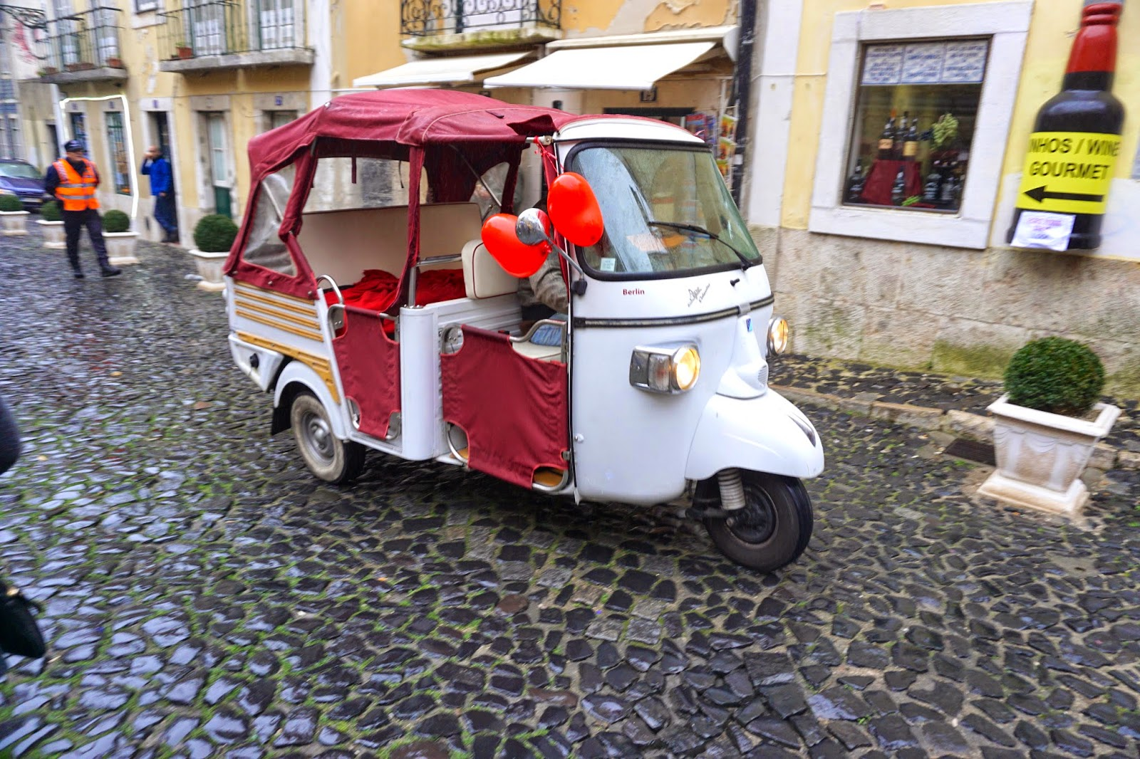 Heart decorated taxi scooter for Valentine's Day in Lisbon