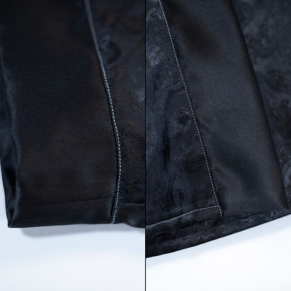 Minn's Things Suki Robe Sewing pattern Helen's Closet Hacked Short Satin Fabric Detail Topstitching