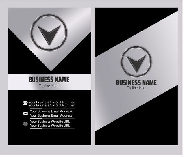 Vertical-silver-effect-business-card-template-vector-image.